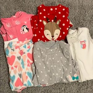 0-3 month fleece pajama and sleeper set